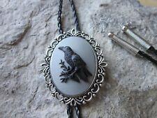 Raven - Black Bird - Crow Cameo Unisex Bolo - Bola Tie - Necklace - Choker