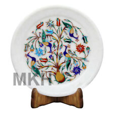 """7"""" Marble Plate Floral Mosaic Decorative Carnelian Marquetry Pietra Dura Vintage"""