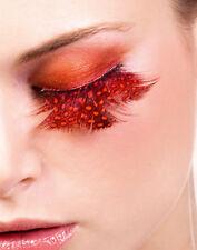 Orange Red Feather False Eyelashes Extensions Showgirl Burlesque Eyelashes
