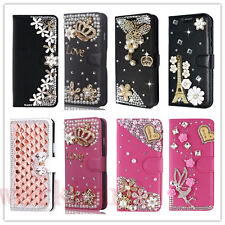 Leather Flip Bling Rhinestone Diamond Wallet Case Girl Cover For iPhone/Samsung