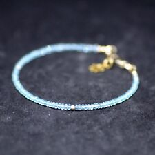 Green Apatite Skinny Bracelet 14k Gold Filled , Healing Gem , Lotus Charm
