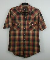 Plains Western Wear Size Small Pearl Snap Shirt Short Sleeve Plaid Cowboy