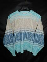 Vintage Saturdays L Blue Brown White Oversized Sweater Crew Neck Geometric Knit
