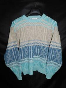Vintage Saturdays L Blue Brown White Oversized Sweater Crew Neck Geometric Knit