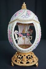 """House of Faberge Musical Carousel Horse Egg Franklin Mint """"Roses & Ribbons"""""""