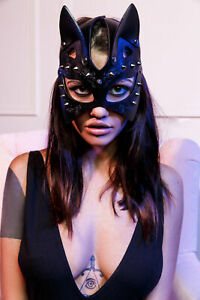 Women Sexy Leather Cosplay Catwoman Mask BDSM Fetish Roleplay Party Costume Mask