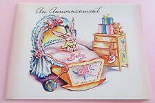 Unused Vintage Baby Card Little Announcement Baby Cradle & Dresser w Bunny