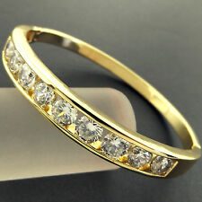 BANGLE HINGED CUFF BRACELET GENUINE REAL 18K G/F GOLD SOLID DIAMOND SIMULATED