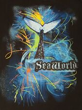 SEAWORLD - EIGHTIES STYLE DESIGN WITH WHALE TAIL  - BLACK 2XL T-SHIRT C524