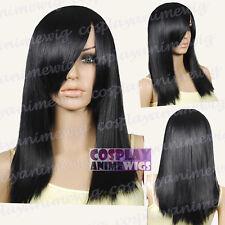 50cm Black Heat Styleable Layered Medium Cosplay wigs 71_001