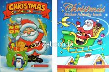 Set 2 x Children's Christmas Colouring Book Stickers Activity Kids Xmas Puzzle