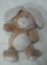 "Prestige 1990 Plush Cream White Tan Bunny Rabbit Sits 11"" Tall Stuffed Animal"