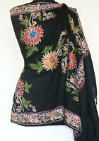 Crewel Embroidery on Black Wool Shaw Colorful,Kashmir Ari Embroidered Pashmina