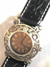 WOMEN'S WESTERN WATCH*BRASS COLOR BEZEL&BUCKLE* EMBOSSED LEATHER LOOK BLACK BAND