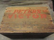 Vintage Wooden Peters Victor Ammo Box Crate > Antique Gun Hunting Rifle 8757
