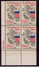 US USA Sc# 1369 MNH FVF Plate # Block American Legion Eagle Olive Branch Veteran
