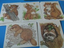 14 VTG.STATIONERY,NOTE CARDS,LIL BUDDIES CRITTERS~RABBIT,BEAVER,RACOON,BEAR~CUTE