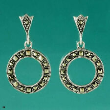 Pretty Sterling Silver & Marcasite Drop Earrings - A Hint of Sparkle!