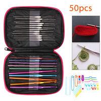 50Pcs Multi-color Aluminium Crochet Hooks Knitting Needles Sewing Tools Set New