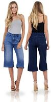 Ladies Denim Cropped Jeans 100% Cotton Trousers Womens 3/4 Crops Pants
