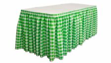 """LA Linen Poly Checkered Table Skirt with 15 Large Clips, 21'x29"""", Green/White"""