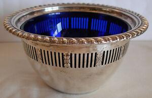 BIRKS STERLING SILVER SUGAR SALT CANDY BOWL COBALT BLUE LINER - 83 grams net