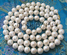 "P1466 - AAA 30"" 9mm natural white round freshwater pearl necklace -14k gold clas"