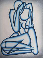 Blu Astratto Nudo Sexy Amanti Nudi grande dipinto a Olio Tela Originale Moderno