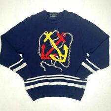 Vintage Preswick & Moore Knit Sweater Womens L Sailor Anchor Boot Pullover 90s
