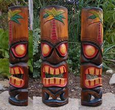 "Hawaiian Palm Tree Tiki  Wood Wall Mask Patio Tropical Bar Decor 20"""