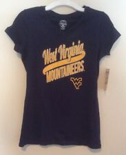 NWT West Virginia Mountaineers Girls V-Neck T-Shirt Tee Navy Blue L 10/12