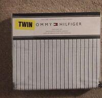 Tommy Hilfiger Lt Blue & Navy Pinstripe on White 3 Pc Twin Sheet Set