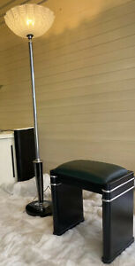 VINTAGE ART DECO 30s CHROME TORCHIERE UPLIGHTER LAMP + MATCHING STOOL - WORKING