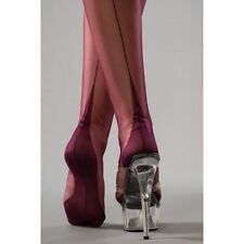 NEW PLUM Gio FF Fully Fashioned Cuban Heel Nylon Seamed Stockings 9.5 Small /Med
