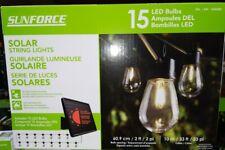 SOLAR LED String Lights 15 BULBS 33' INDOOR OUTDOOR Shatterproof NEW SUNFORCE