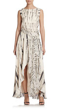Haute Hippie Feather Dagger Print Draped Silk Gown Maxi Dress Size S