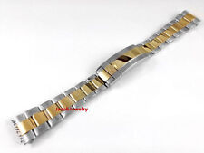 New S Steel 2 Tone Color Strap Band Bracelet Glide Lock Fit Submariner Watch