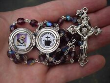 St Padre Pio RELIC locket rosary with special engraved locket***BEAUTIFUL!!!!
