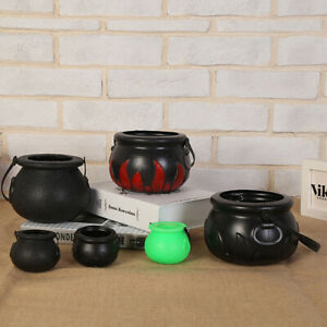 Plastic Cauldron Decoration-Candy Holders Witch Pot with Handle for Trick-