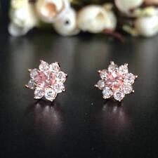 Round Pink Morganite Ear stud Earrings 14k Rose Gold Finish & White Cz Flower