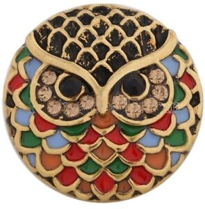 Gold Brown Rhinestone Red Owl Bird 20mm Charm For Ginger Snaps Magnolia Vine