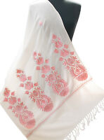 Pink & White Wool Shawl Indian Kashmir Ari Embroidered Pashmina Style Floral