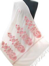 Pink & White Wool Shawl Indian Kashmir Ari Embroidered Pashmina Style Floral