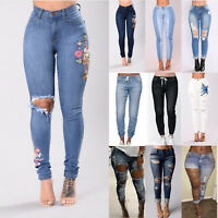 Womens Stretch Skinny Ripped Denim Jeans Slim Jeggings High Waist Pants Trousers