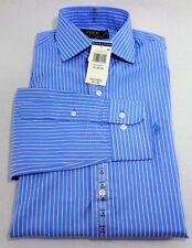 New Mens Polo Ralph Lauren Blue Striped Long Sleeve Dress Shirt 15 33/34