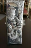 Italian Silver Plated 925 Saint Anthony of Padova Plaque Icon Cherry-Wood Back