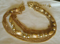 Goldette Unsigned Multi row Gold tone Necklace with Ornate fittings