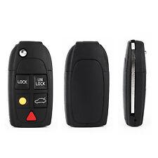 Black 5 Button Flip Remote Key Fob Case Shell for VOLVO S60 S80 V70 XC70 XC90