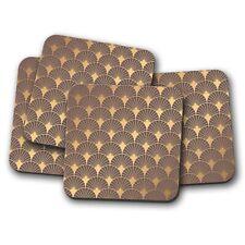 4 Set - Gold Art Deco Coaster - Vintage Elegant Pattern Aztec Fun Gift #12761