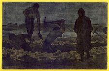CPA Illustration RARE GUERRE 14-18 Le Travail de Nuit FOSSOYEURS TOMBE SOLDATS